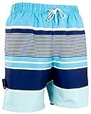 Luvanni Herren Badeshorts Beachshorts Boardshorts Badehose Schwimmhose Männer mit Blautöne Gestreift Streifen *High Quality Print* Blau Schwarz L