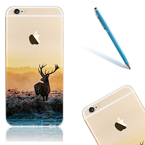 "iPhone 6s Handytasche, für iPhone 6 CLTPY Ultradünn Durchsichtig Original TPU Schale Etui, Kreativ Landschaft Muster Full Body Cover Case für 4.7"" Apple iPhone 6/6s + 1 x Freier Stylus - Meer Elch"