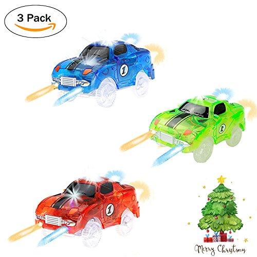 Spielzeug Auto Spur Led Licht Auto Im Dunkeln Leuchten Zubehör Kompatibel mit den Meisten Auto Rennen Magic Tracks,Ideal Für Childs Geschenke(Packung von 3) (Lego Polizei-halloween-kostüm)