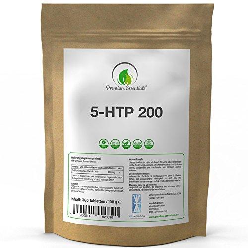 5-HTP 200 | 180 / 360 Tabletten | 5-Hydroxytryptophan (Vegan) ULTRA HOCHDOSIERT | Griffonia Samen Extrakt | UNTERSTÜTZUNG FÜR DEN SEROTONIN-SPIEGEL (360)