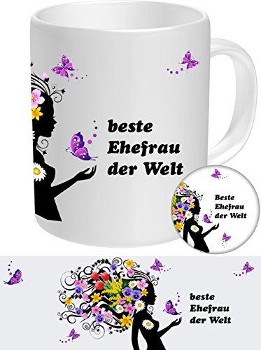 Ehefrau Set-03 FRAUENGESCHENK: Ehefrau - Beste Ehefrau, Top Geschenke für die Besten Frauen NEU Tasse + Button