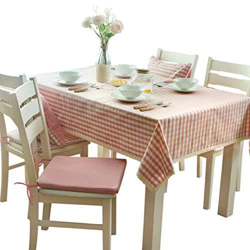 XQY Tischtuchdecken, Home Tischdecken, runder Tisch Tischdecken, Moderne minimalistische Spitze Tischdecke frische rosa Gitter Tischdecke Tuch Wasserdichte Tischdecke (Pink) für Dinner Picknick,140 *