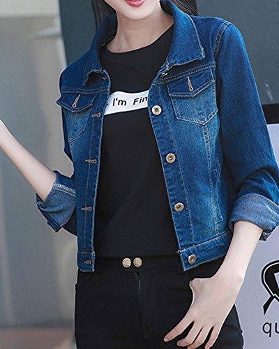 Donna Denim Giacca Manica Lunga Jeans Jacket Outerwear Giubbino Blu marino