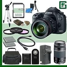 Canon 5d mark iii Digital SLR Kit de la cámara con 24–105mm IS USM y Canon 75–300mm III USM lente + 16GB verde de la cámara paquete 2