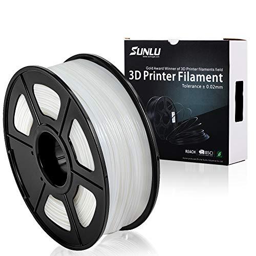 Impresora 3D SUNLU Filamento PLA + Blanco (más transparente), 1.75 mm, Exactitud dimensional de bajo olor +/- 0.02 mm, 2.2 LBS (1 KG) Carrete