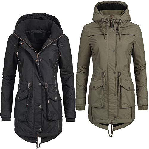 Azuonda Damen Mantel Winterjacke Parka Wintermantel warm Teddyfell Jacke Az97 XS-XXL 2-Farben