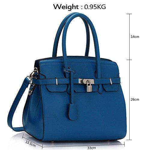 TrendStar Damen Entwerfer Imitat Leder Ebene Vorhängeschloss Für Leinentrage Schultern Taschen Handtaschen Blau1