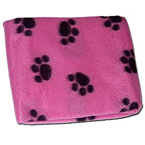 PINK SOFT COSY WARM FLEECE PAW PRINT PET BLANKET DOG PUPPY ANIMAL CAT BED