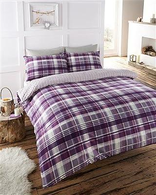 Flannelette Plum Tartan check Reversible 100 % Cotton Flannelette Duvet Set Luxury Bedding Set Angus - cheap UK light shop.