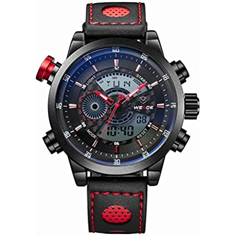 Weide Hombre WH3401Militar Alarma Cronómetro impermeable y cuarzo LCD luz digital Analog Display reloj deportivo