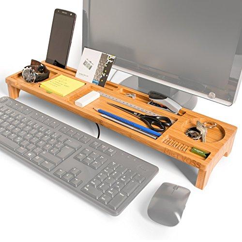 PIETVOSS Schreibtisch Organizer - Für optimale Organisation und Effizienz am Arbeitsplatz - Mehr Platz für Stifte, Handy, Tastatur und Maus - Ordnungssystem aus Bambus-Holz (Unter Schreibtisch Tastatur-regal)