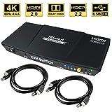 TESmart 2fach HDMI KVM Switch - 4K Ultra HD mit 3840 x 2160 bei 60 Hz 4:4:4;2 Stck 5ft/1,5m KVM-Kabel unterstützt USB 2.0 Gerätebedienung bis max. 2 Computer/Server/DVR (Schwarz)