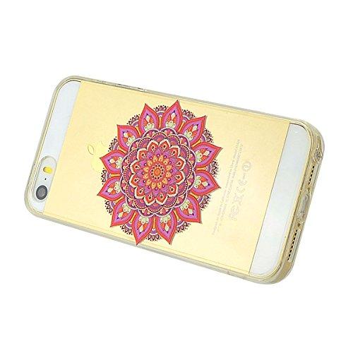 iPhone 5 Hülle, Fraelc iPhone SE Weich Silikon Rahmen Handyhülle Transparent Schlank Schutzhülle Crystal Clear TPU Bumper Case für Apple iPhone 5 / 5S / SE mit Indische Blume Muster Design Hart Backco Rot Mandala