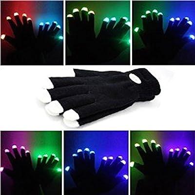 Namsan Bunte und 7-Mode-LED Rave Blinklicht Glow Finger-Handschuhe für Clubs, Festivals, Weihnachten, Laufen, Radfahren, Sports