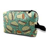 Pizza Hamburger Travel Storage Bag Makeup Cosmetic Bag Pouch
