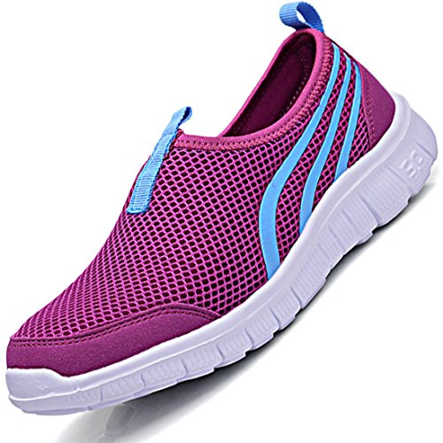 Men's Mesh Breathable Slip On Rubber Sole Small Round Casual Shoes PurpleA