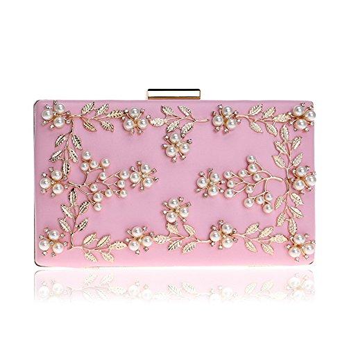 BESTSOON Abendtasche Frauen Clutch Geldbörse Floral Abend handgefertigte Perle Dinner Bag Damen Kleid Handtasche Party (Farbe : Rosa)