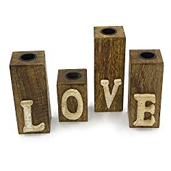 H O M E L O V E ~ Set Of 4 ~ Modern Advent Candle Holder, Wood, Home