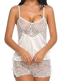 DOGZI Lencería Mujer Erotica Moda Mujer Talla Grande Sexy Cordón Lencería Niña Escote en V Arco Conjuntos Ropa de Dormir Perspectiva Tentación Bikini S~3XL