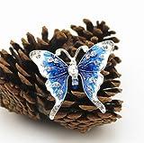 Cdet Brosche Farbe Weihnachten Diamant-Schmetterling Legierung Dek Frauen Brosche/Herren Brosche Anzug Brooch / Hochzeit Dekoration/ Geburtstags Geschenk Pin,1 Stuck (Blau)