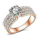 AMDXD Schmuck Damen Ringe Rose Vergoldet Ring 3 Reihe Zirkonia mit Österreich Kristall Rose Golden Ringe