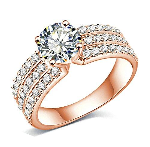 Mit Kristallen Rose Ring Gold (AMDXD Schmuck Damen Ringe Rose Vergoldet Ring 3 Reihe Zirkonia mit Österreich Kristall Rose Golden Ringe)