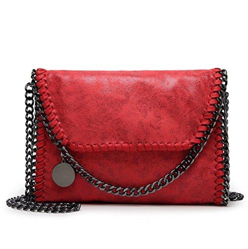 Valleycomfy bolso de mujer elegante bolso de hombro correa de cadena metálica bolso de cuero de la PU bolsos cruzados bolsa de embragues (rojo)