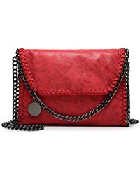 Valleycomfy Women Handbag Elegant Shoulder Bag Metallic Chain Strap Pu Leather Crossbody Borse a tracolla