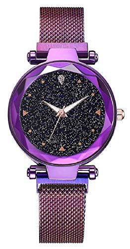 XAVIER Magnetic Belt Luxury Fashion Womens Quartz Rhinestones Watches Starry Purple Ladies Wrist Watch with Thin Steel Magnetic Strap for Women & Girls