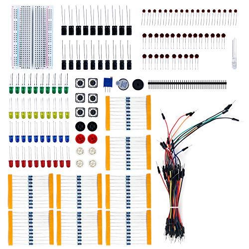 TeOhk Electronics Component Kit Stromversorgungsmodul LED-Dioden Überbrückungskabel Verbindungspunkte Steckbrett Präzisions Potentiometer Widerstand für Arduino -