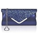 Larcenciel Pochette Enveloppe Sac de Soirée en Paillettes Brillant Argenté pour Femme (bleu)