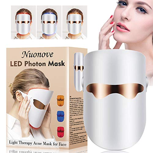 Lichttherapie Maske Akne, LED Gesichtsmaske, Anti Akne Maske, Anti Falten Maske, Whitening Mask, Anti Blemish Solutions, Photonen-Therapie Hautverjüngungs LED Gesichtsmaske mit Blau/Rot/Orange Licht -