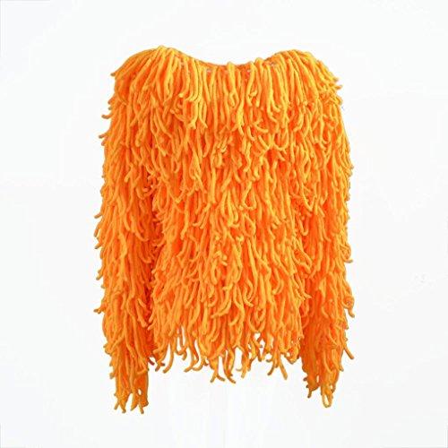 Keepwin Femmes chaudes manches longues col rond tricot veste gland manteau solide gilet vêtements de plein air Orangé