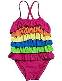 20e25f688820a Zerlar Rainbow Ruffled Girls Swimsuit Swimwear One Piece Bathing Suit