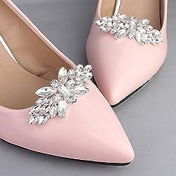 Kercisbeauty damigelle d' argento farfalla scarpe da sposa scarpe decorazione clip con perline di cristallo donna tacco alto scarpe di anniversario, regalo di nozze, spiaggia di gioielli, Daily (set da 2)