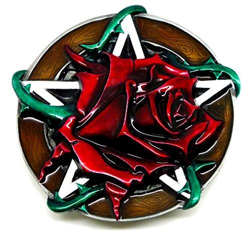 Rote Rose & Pentagramm Gürtelschnalle - 3D Design - Authentische Dragon Designs Markenprodukt (Pentagramm-gürtelschnalle)