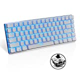 LexonElec® Wired Gaming Tastatur Ajazz AK33 Blau LED-Hintergrundbeleuchtung 82 Schlüssel USB Mechanische Pro Gamer Tastatur für Büro Typists Spielen White & Black Switch Black Switch