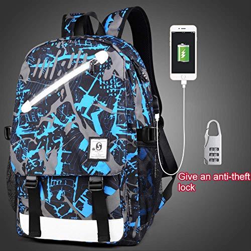 Schultaschen WEN FENG Anti-Dieb Kinder Schultaschen Boy Girl Anime Luminous School Rucksack Teenager Schultasche wasserdichte Kinder Tasche USB Ladeanschluss 46x30x14 cm Stil 8