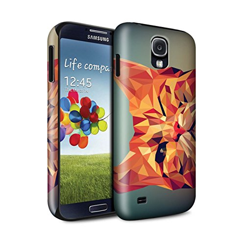 (Stuff4® Glanz Harten Stoßfest Hülle/Case für Samsung Galaxy S4/SIV/Rote Katze Muster/Geometrisches Tier Tierwelt Kollektion)