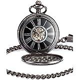 KS KSP035 - Reloj de Bolsillo, Mecánico de Cuerda Manual, Analógico, Caja Negra