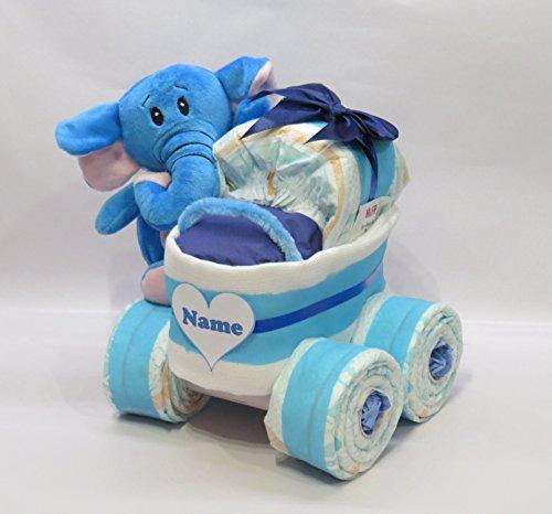 'pañales pañales para tartas-Cochecito XL de neumáticos 'Corazón + Elefante babyblau
