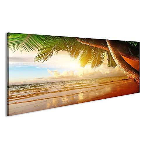 bilderfelix® Acrylglasbild Karibik Palmen Strand Sonnen Meer Glasbild Wandbild auf Glas