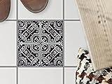 creatisto Fliesentattoo Dekosticker | Bodenfliesen-Aufkleber Folie Sticker Selbstklebend Küche renovieren Bad Küchen Ideen | 15x15 cm Muster Ornament Black n White - 1 Stück