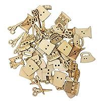 Profusion Circle 50pcs 2 Holes Sewing Tool Shape Wooden Buttons DIY Sewing Scrapbooking Craft