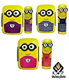 Khurana Plastic Combo Set Of Minion Printed Lunch Box & Pencil Box With Stationary For Kids, Yellow