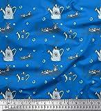 Soimoi Blau Baumwoll-Popeline Stoff Windmühle und Gießkanne Garten-Accessoires Drucken Nahen Stoff 1 Meter 56 Zoll breit