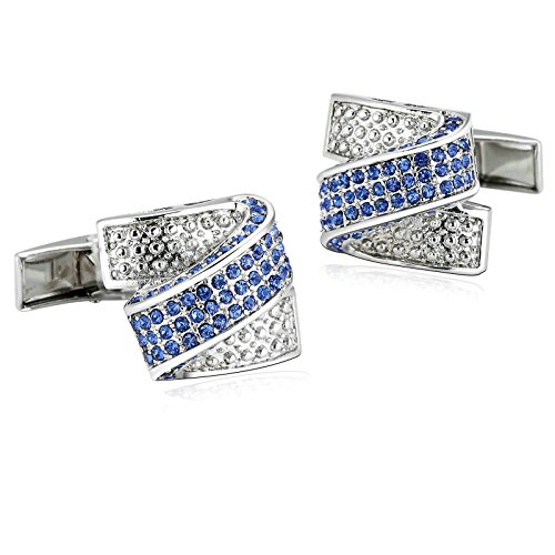 Aooaz 1 Paar / 2 Stück Herren Manschettenknöpfe Edelstahl Mode Design Silber Blau Verlobung Manschettenknopf 2.2 x 1.7cm