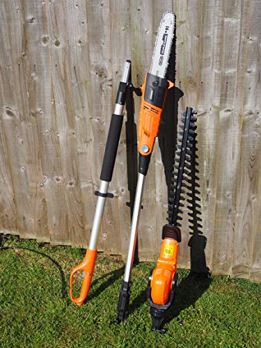 eSkde LPHTCS1 Long Reach Telescopic Pole Hedge Trimmer Chainsaw Combi Kit, 240 V, Black and Orange