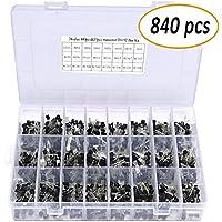 24 Typen Transistortypen, TO-92 NPN PNP Kit Set, NPN/PNP Leistungstransistor Sortiment Kit Set mit Kunststoff Aufbewahrungsbox für Elektronik DIY, 840 Stück