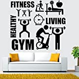 NEWSTARTS Gym Etiqueta de La Pared Barbell Fitness Decal Body-building Etiqueta de la Habitación Decoración GYM Ejercicio Deportes Living Vinilo Etiqueta de La Pared